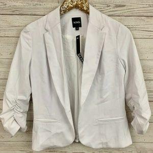 XOXO Ruched 3/4 Sleeve Solid White Blazer Jacket